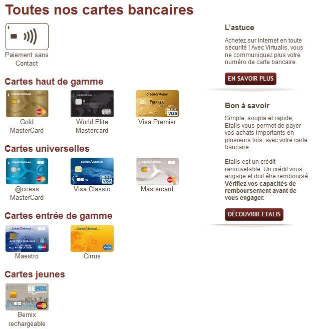 cartes bancaires CMB Credit Mutuel de Bretagne