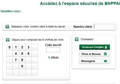 accès compte BNP Paribas Net  BNPPARIBAS.NET
