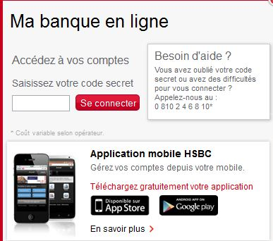 hsbc particuliers code secret