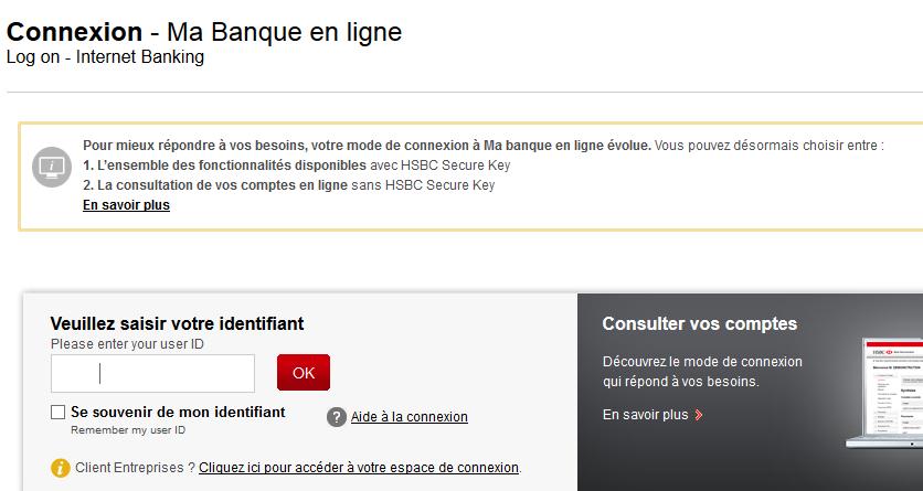 connexion HSBC sans secure key
