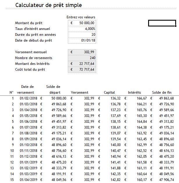 mod le excel de calculateur de pr t. Black Bedroom Furniture Sets. Home Design Ideas